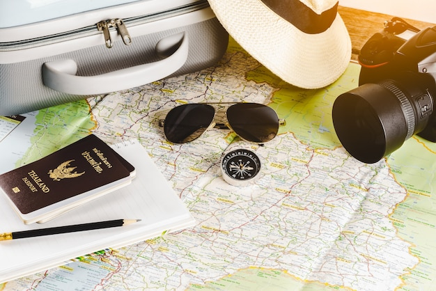 Travel accessories for the travel trip. passports