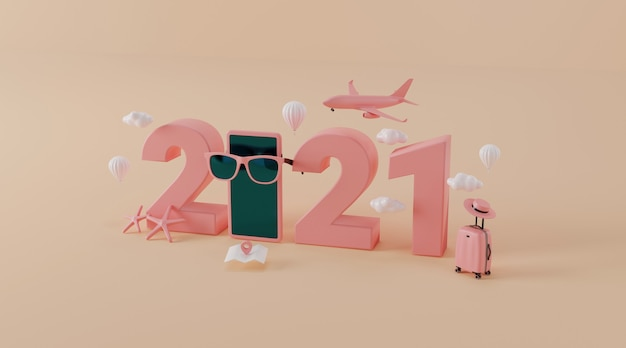 Travel accessories with suitcase as travel year 2021 concept Premium Photo