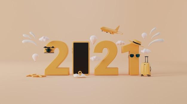 旅行年2021コンセプトとしてスーツケース付きの旅行アクセサリー