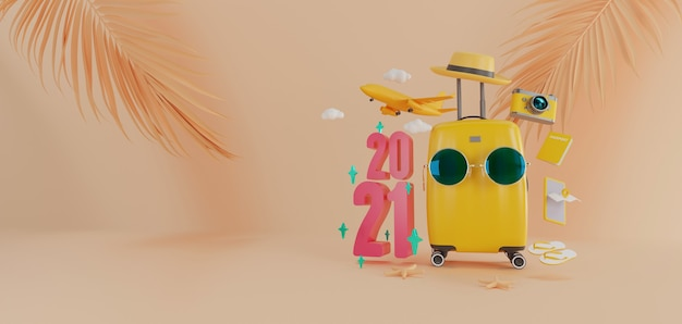 Travel accessories with suitcase as travel year 2021 concept.