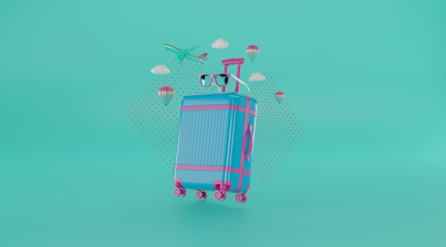 Travel accessories with suitcase.