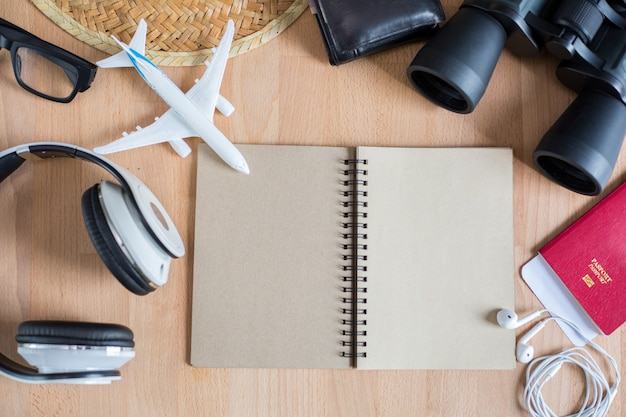 Travel accessories for your essential holiday summer with top view.