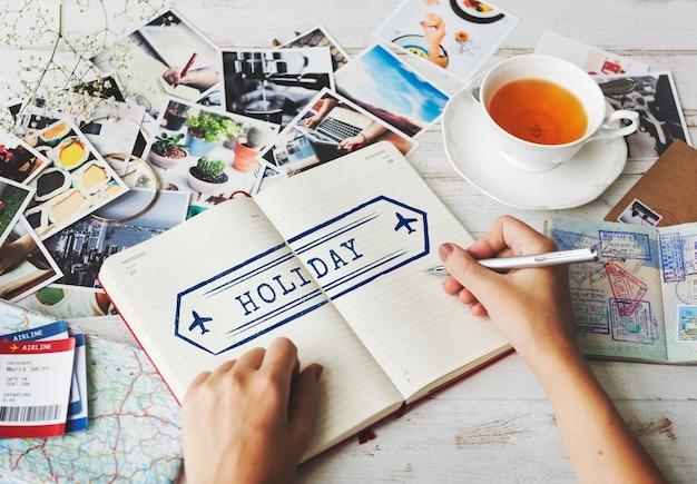 Concetto di francobollo di viaggio avventura vacanza
