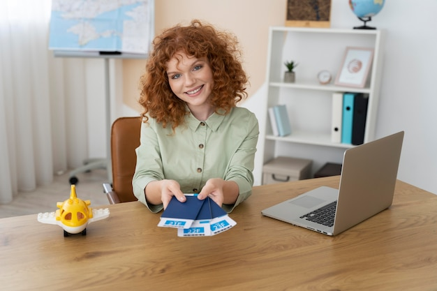 Travel agent offering trip planning to clients