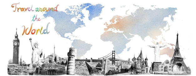 Travel around the world and sights. famous landmarks of the world grouped together. watercolor hand drawn painting illustration, landmark black and white on colorful world map background, popular