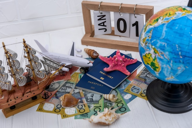 Travel to australia, vacation planning with passports