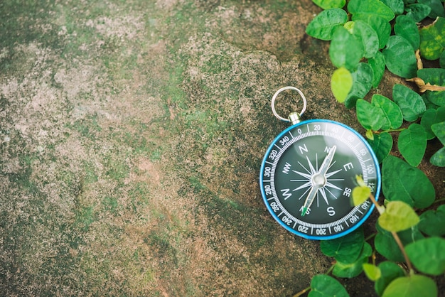 Travel background, compass on ground with leaves.