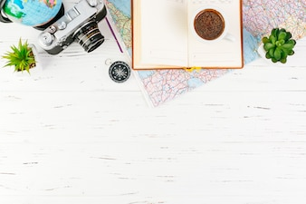 Travel background with accessories and copyspace on bottom