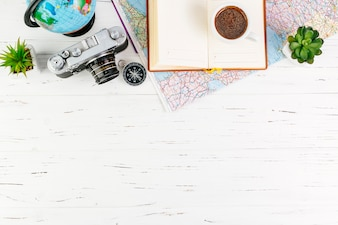 Travel background with accessories and copyspace