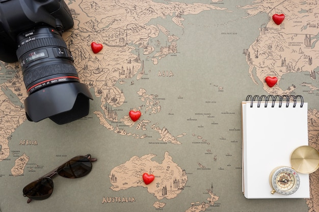 Travel background with fantastic objects