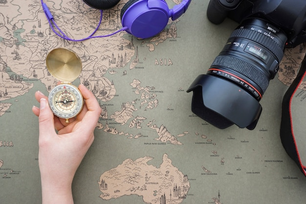 Travel background with hand holding a compass