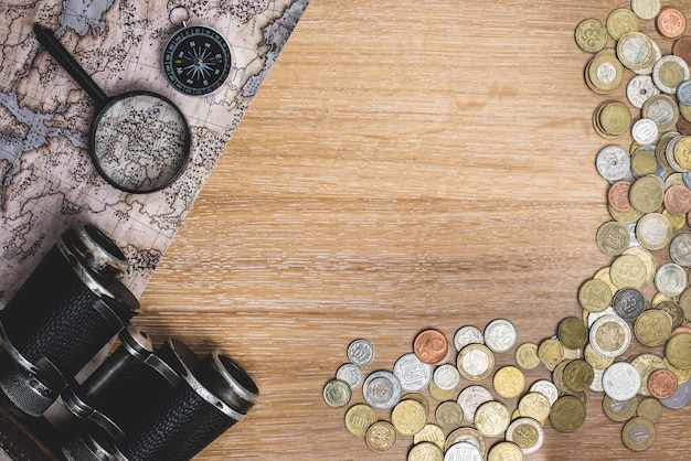 Travel background with objects and coins