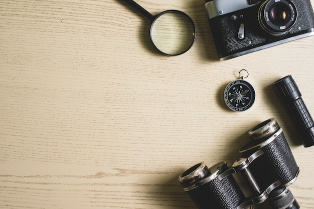 Travel background with vintage objects and blank space