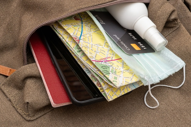 Travel backpack with essentials during a pandemic