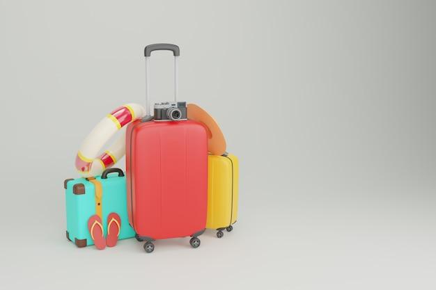관광에 사용되는 여행용 가방 슬리퍼, 카메라, 의자 및 비치 파라솔이 함께 제공됩니다.