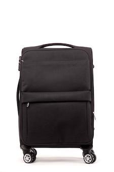 Travel black suitcase isolated on white background.