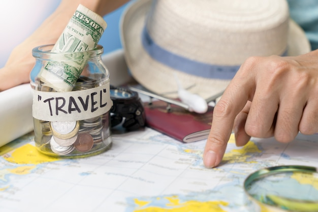 Travel budget and accessories for holiday
