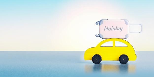 자동차로 여행. 일출 때 푸른 하늘 배경에 가방이 달린 장난감 자동차. 배너.