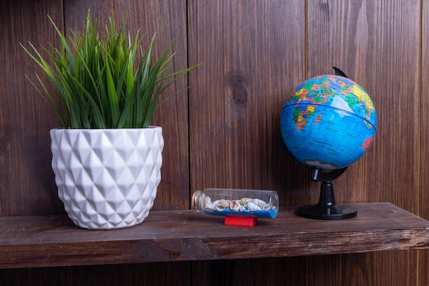 여행, 선반 관엽 식물, 글로브 및 조개에 구성