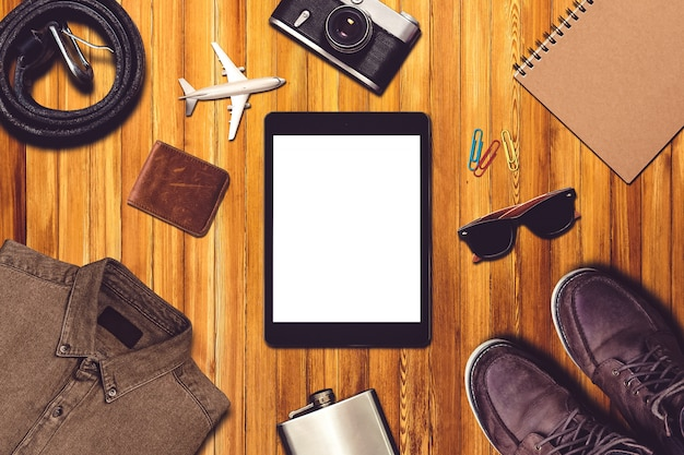Travel composition with clothing and travel equipment