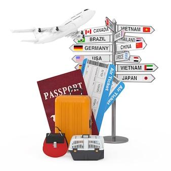 Концепция путешествия. самолет над указателем с названиями разных стран и флагами возле паспорта, билетов на посадочный талон на самолет и готовый к вылету багаж на белом фоне 3d-рендеринга