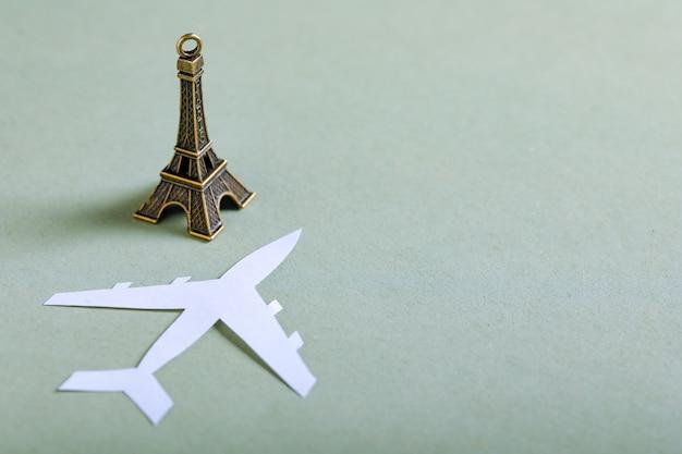 Travel concept, eiffel tower miniature
