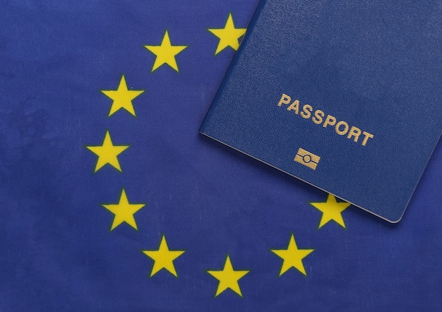 Travel concept. passport against the background of euro union flag