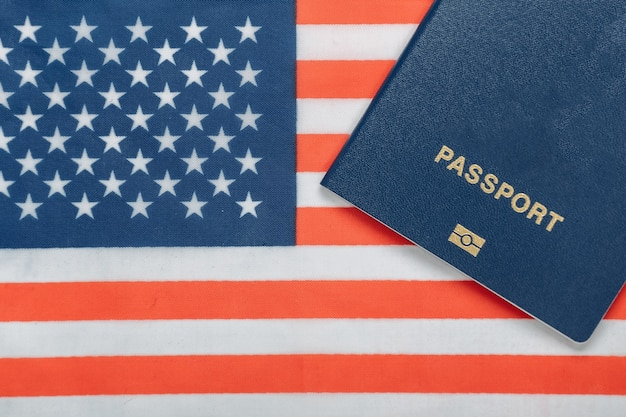 Travel concept. passport against the background of the usa flag