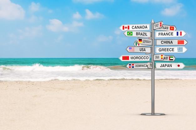 여행 개념입니다. 오션 비치 극단적인 근접 촬영에 다양한 국가 이름과 플래그가 있는 푯말. 3d 렌더링