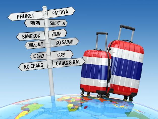 Концепция путешествия. чемоданы и указатель, что посетить в таиланде. 3d