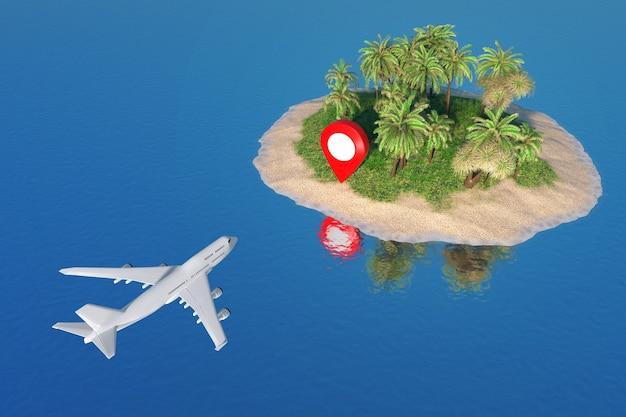 Концепция путешествия. белый реактивный пассажирский самолет, летящий к указателю карты на песчаном острове пустыни с пальмами в центре крайнего крупного плана океана. 3d рендеринг