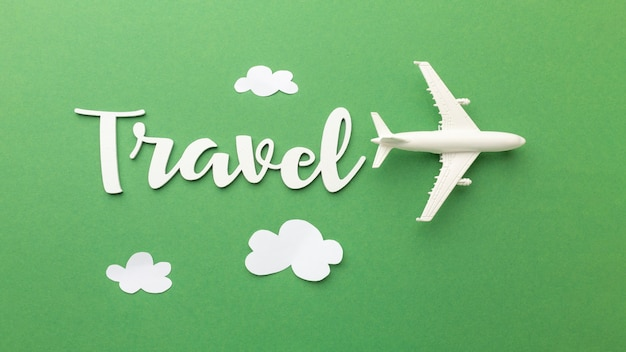Travel concept with plane and clouds