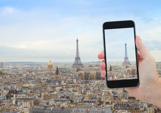 Travel concept with  skyline of paris city with eiffel tower from above, france