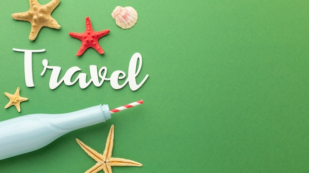 Travel concept with starfish and clouds
