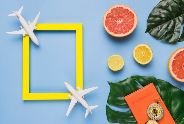 Travel concept with tropical leaves