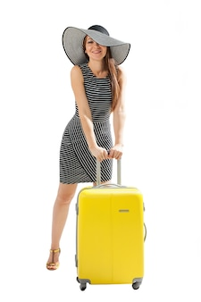 여행 개념 가방을 가진 여자
