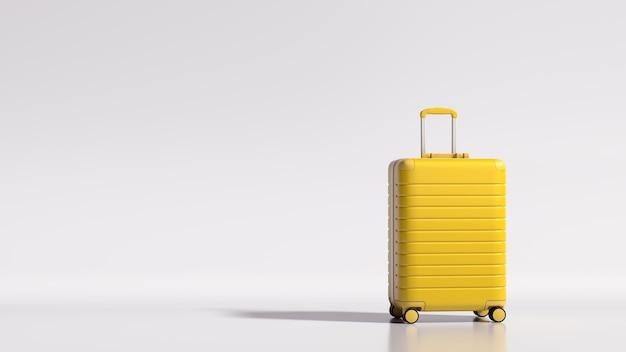 Концепция путешествия желтый чемодан на белом фоне с копией пространства 3d-рендеринга