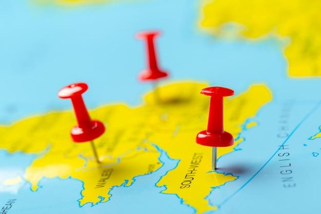 Travel destination points on a map