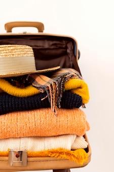 Travel elements assortment on luggage