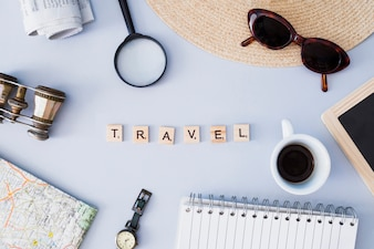 Travel elements composition with letters