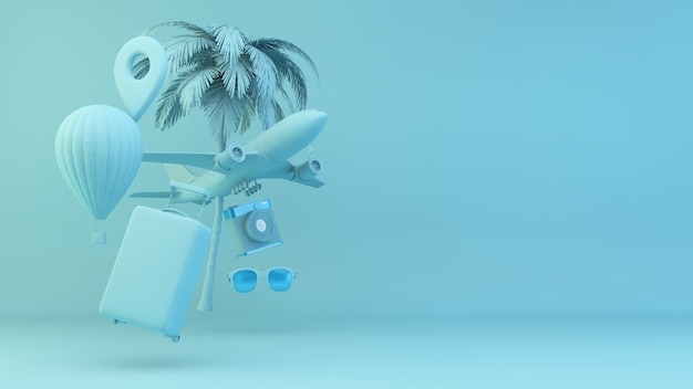 Travel elements concept on blue background