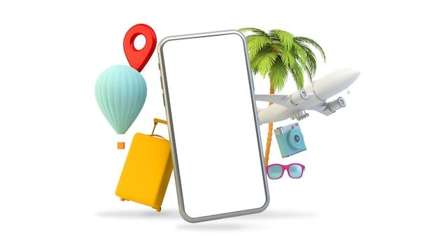 Travel elements phone isolated