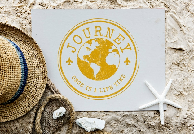 旅行探検世界の旅のスタンプの概念