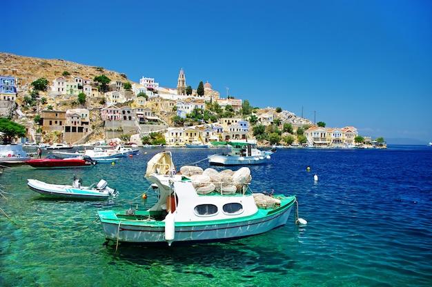 Travel in greece - colorful island simi (symi) near rhodes, dodecanese
