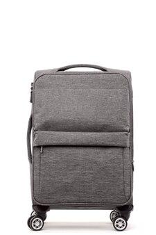 白い背景で隔離の旅行灰色のスーツケース。