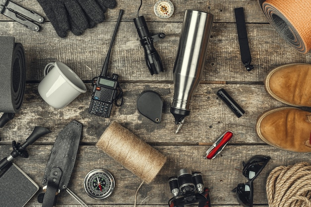 Travel hiking equipment tools, view from above