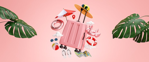 Travel holiday banner concept. pink suitcase and beach accessories 3d rendering