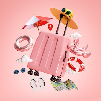 Travel holiday concept. pink suitcase and beach accessories 3d rendering