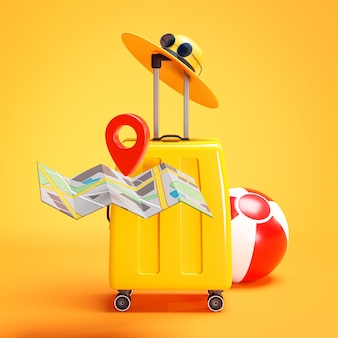 Travel holiday concept. yellow suitcase pin point map hat 3d rendering