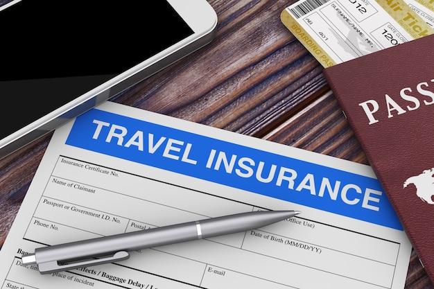 木製テーブルの極端なクローズアップの携帯電話、パスポート、航空券の近くの旅行保険フォーム。 3dレンダリング